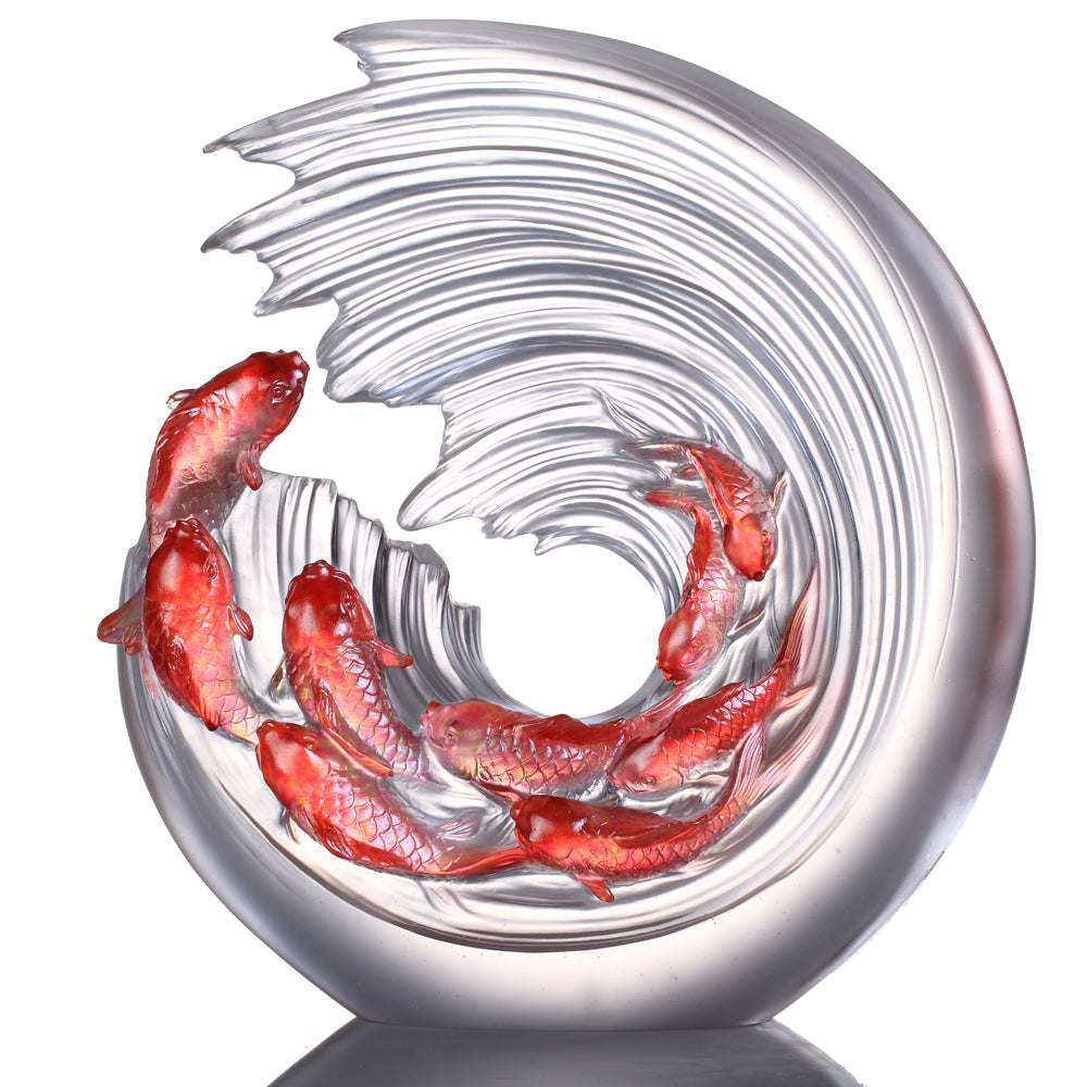 Crystal Fish, Carp Fish, Across the Nine Heavens We Leap - LIULI Crystal Art - Amber / Gold Red Clear.