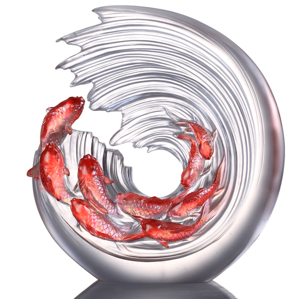 Across the Nine Heavens We Leap (Prosperity) - Carp Fish Figurines - LIULI Crystal Art | Collectible Glass Art