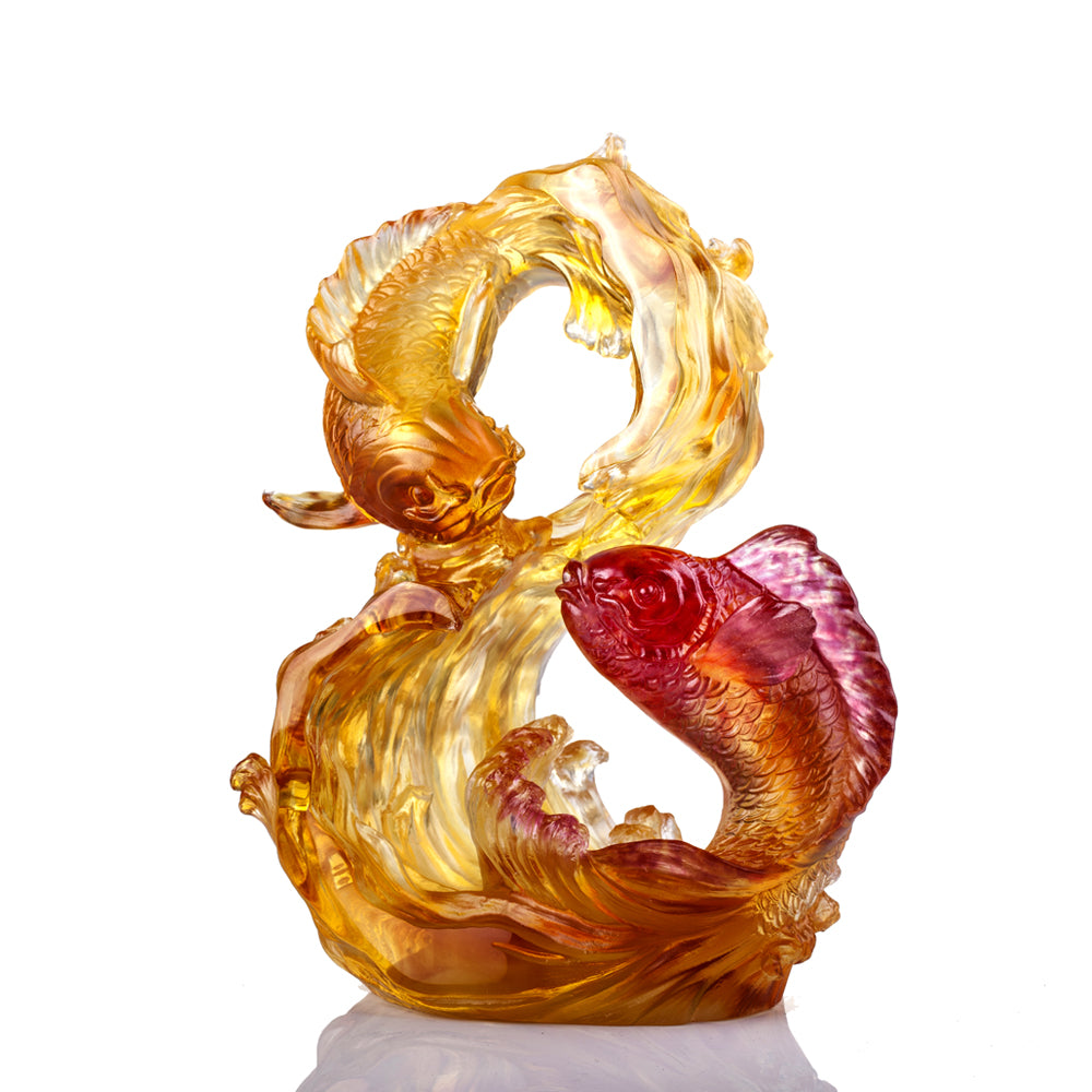 Crystal Fish, Koi Fish, Success Begets Success - LIULI Crystal Art - Amber / Gold Red Clear.