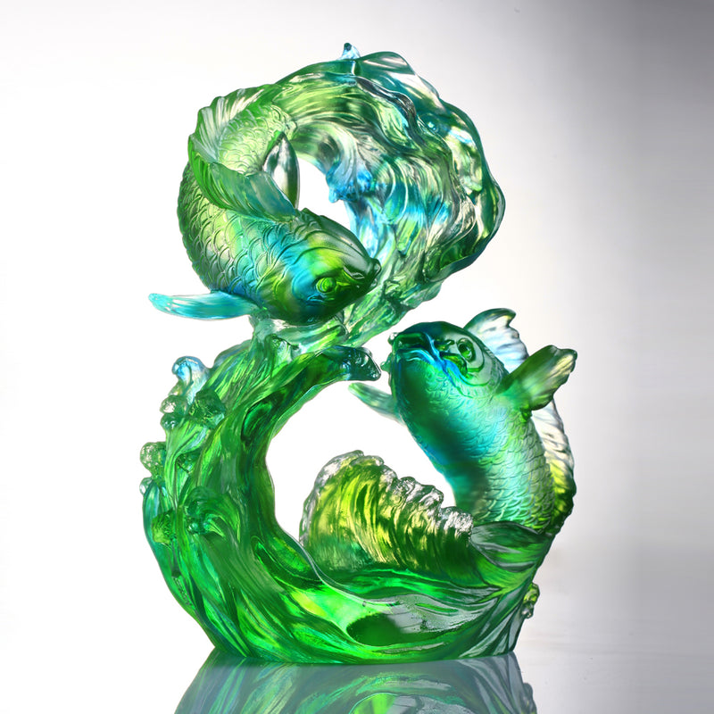 Crystal Fish, Koi Fish, Success Begets Success - LIULI Crystal Art