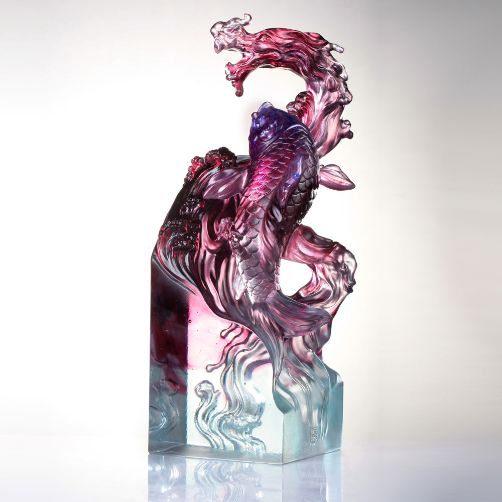 Crystal Mythical Creature, Dragon-Fish, Rising Into the Heavens - LIULI Crystal Art