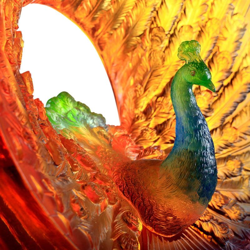 Crystal Bird, Peacock, Golden Age of Opulent Beauty - LIULI Crystal Art