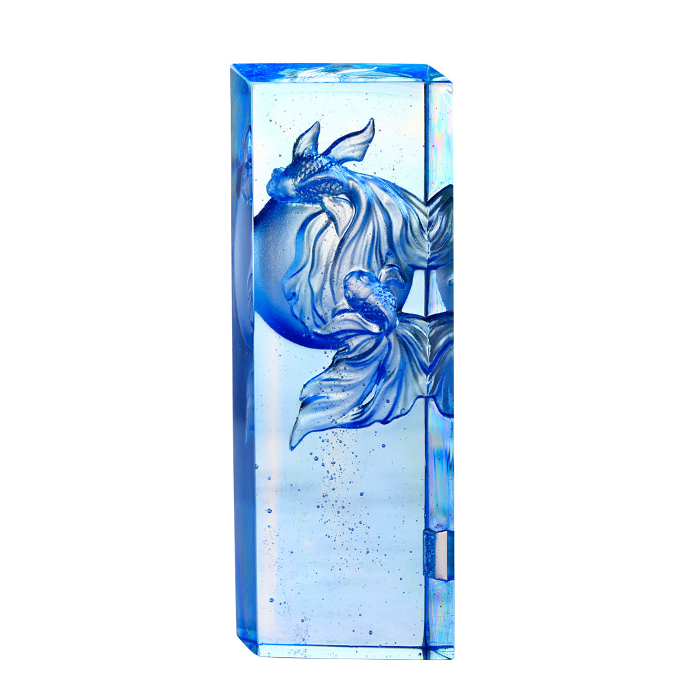 Rise Together (Partnership) - Crystal Goldfish - LIULI Crystal Art - Sky Blue / Blue Clear.