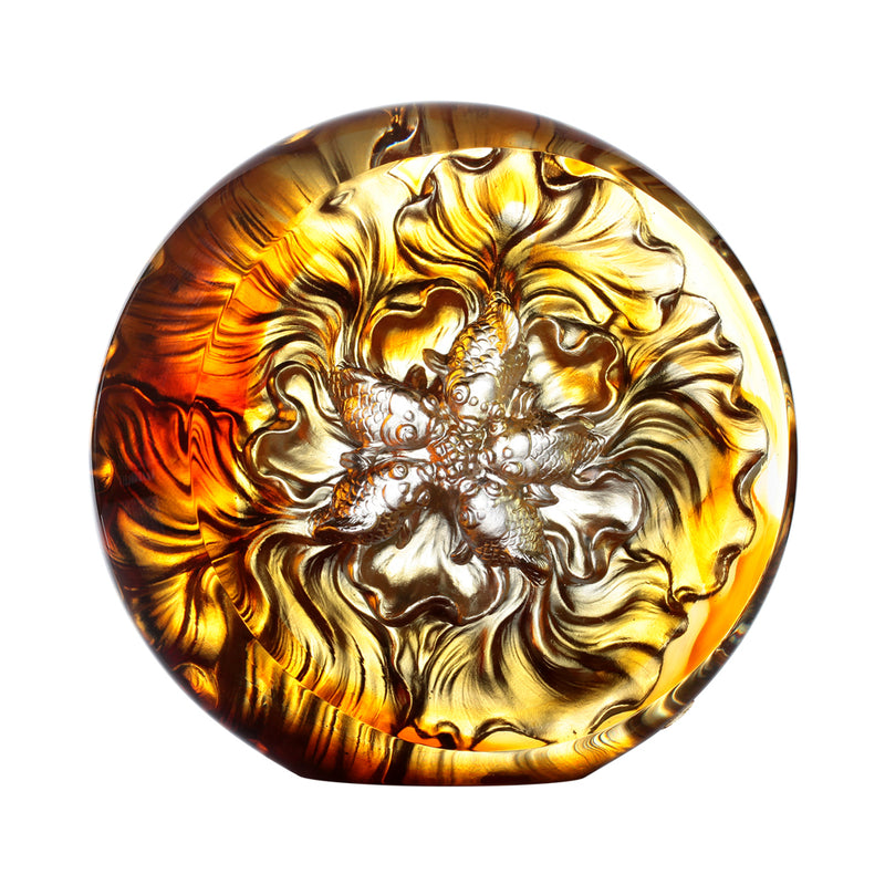 Crystal Fish, Goldfish, Grand Fulfillment - LIULI Crystal Art - Dark Amber / Light Amber.