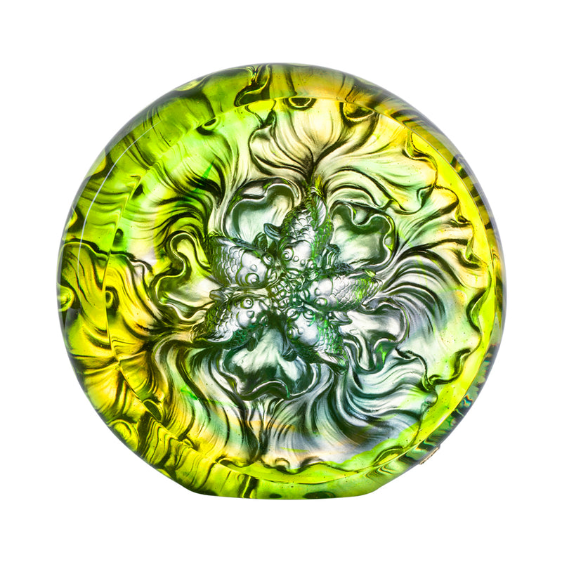 Crystal Fish, Goldfish, Grand Fulfillment - LIULI Crystal Art - Amber / Bluish Green.