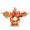 Crystal Fish, Goldfish, Rising New Era, 24k Gold Leaf - LIULI Crystal Art - Amber / Gold Red Clear.
