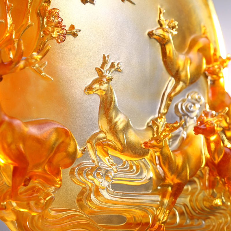 LIULI Crystal Deer Statue Song of Triumph