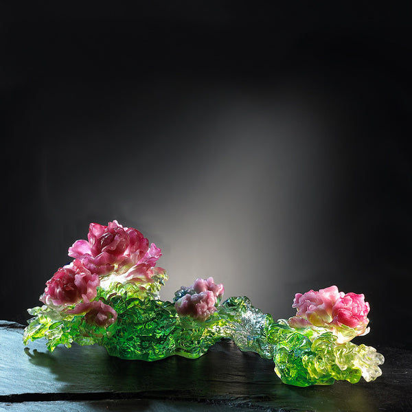 -- DELETE -- Eternal Spring of a Million Flowers (Good Times) - Flower Figurine in Ruyi Shape - LIULI Crystal Art
