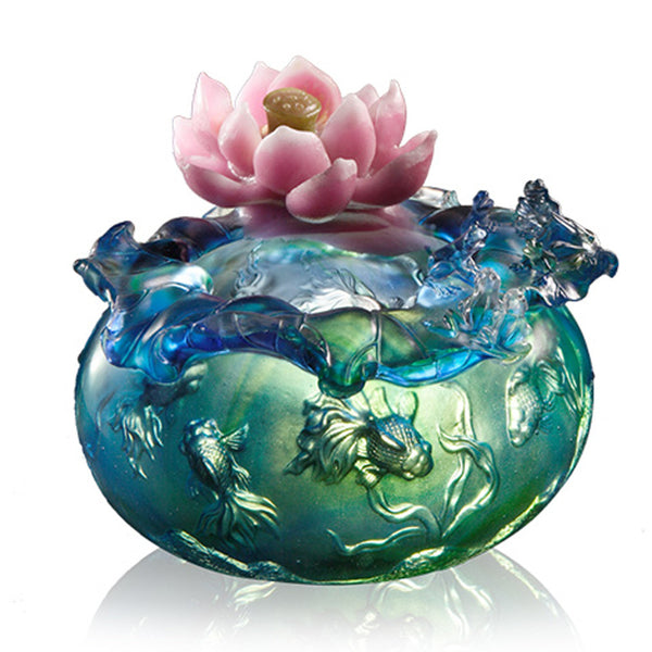 Water Games of Prosperity - Lotus Flower and Gold Fish Figurine (Prosperity) - LIULI Crystal Art | Collectible Glass Art