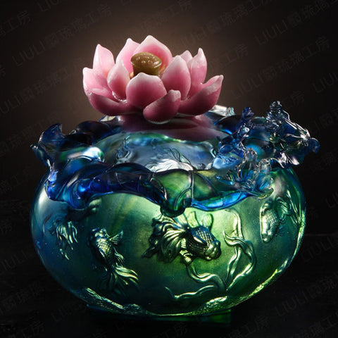 "Lotus Flower and Gold Fish Figurine (Prosperity) - ""Water Games of Prosperity"""