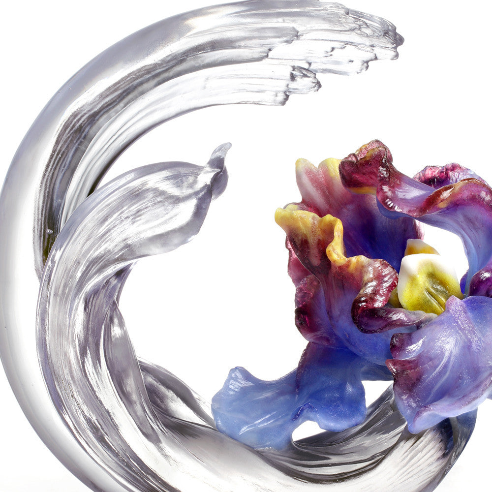 Collector Edition-Crystal Flower, Iris, A Chinese Liuli Flower, Arising through Contentment - LIULI Crystal Art