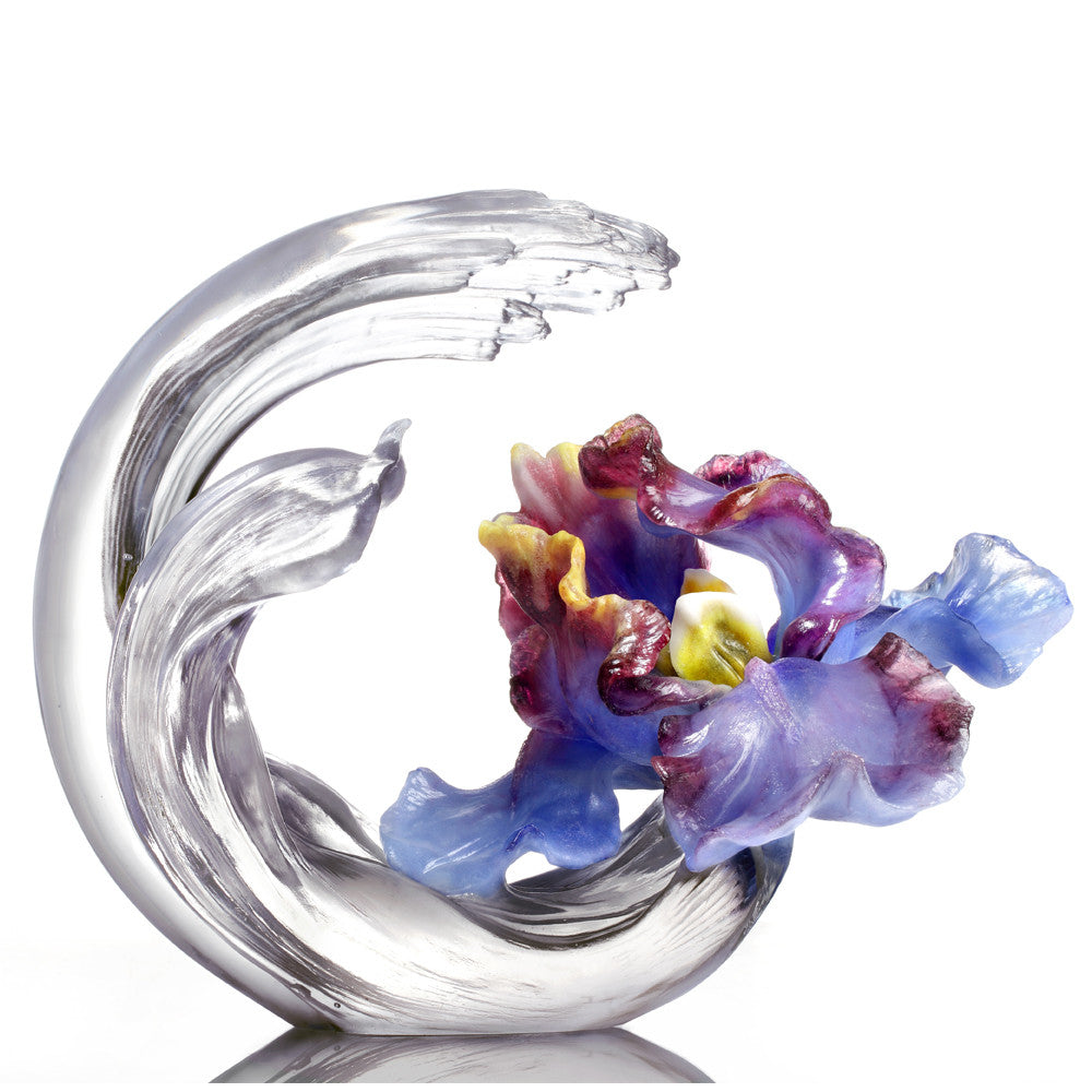Crystal Flower, Iris Sculpture, A Chinese Liuli Flower, Arising through Contentment - LIULI Crystal Art