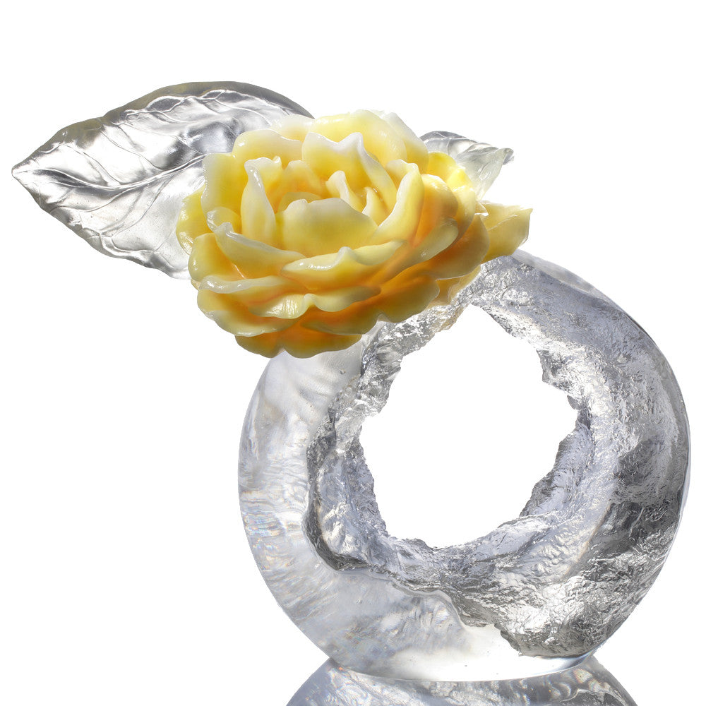 Collector Edition-Crystal Flower, Camellia, A Chinese Liuli Flower, Singular Elegance - LIULI Crystal Art