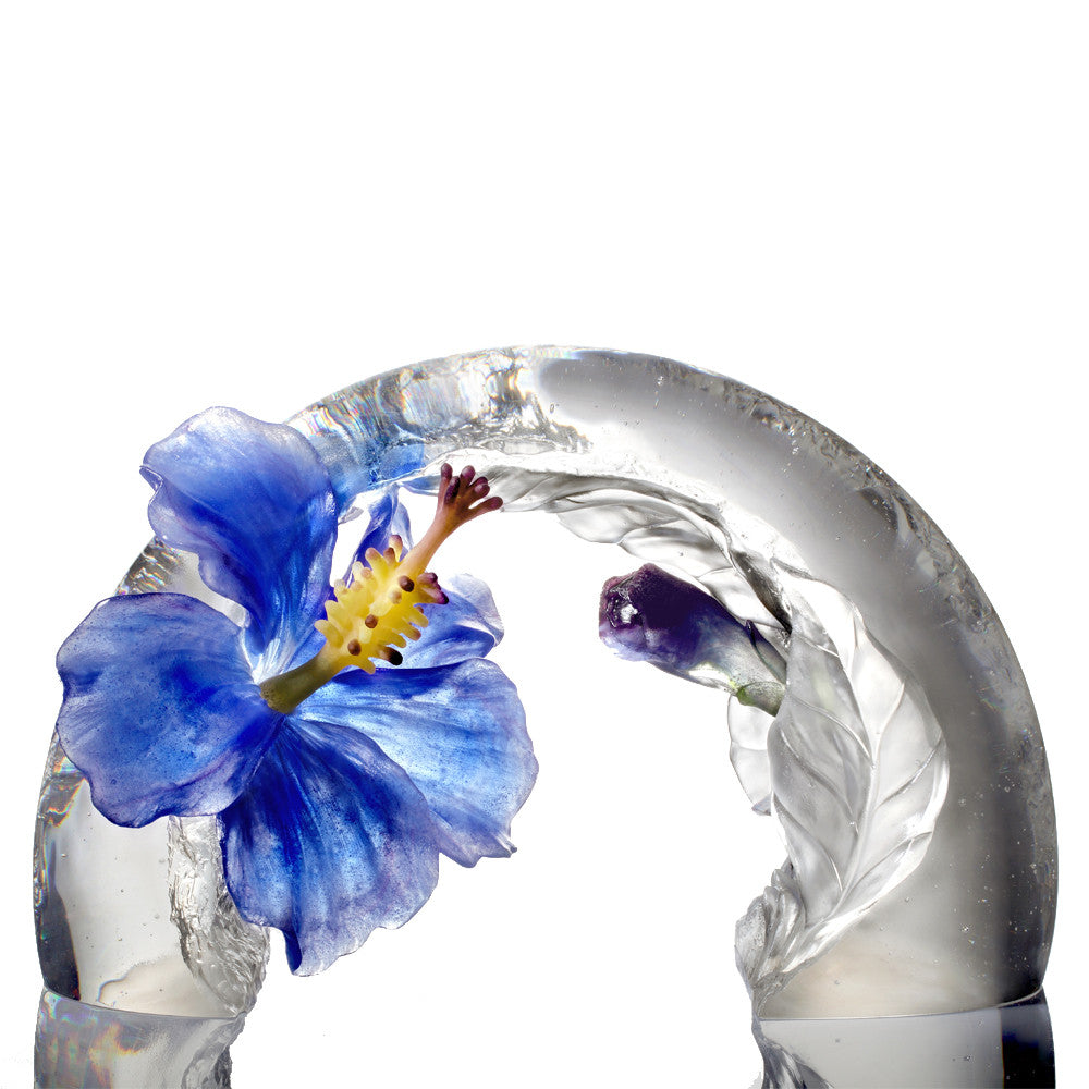 Crystal Flower, Hibiscus Sculpture, A Chinese Liuli Flower, Song of the Morning Flower - LIULI Crystal Art
