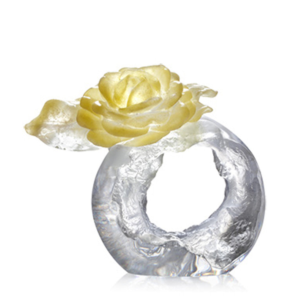 Singular Elegance (Special Edition) - Camellia Flower Figurine (Come with Display Base) - LIULI Crystal Art - Amber Powder.