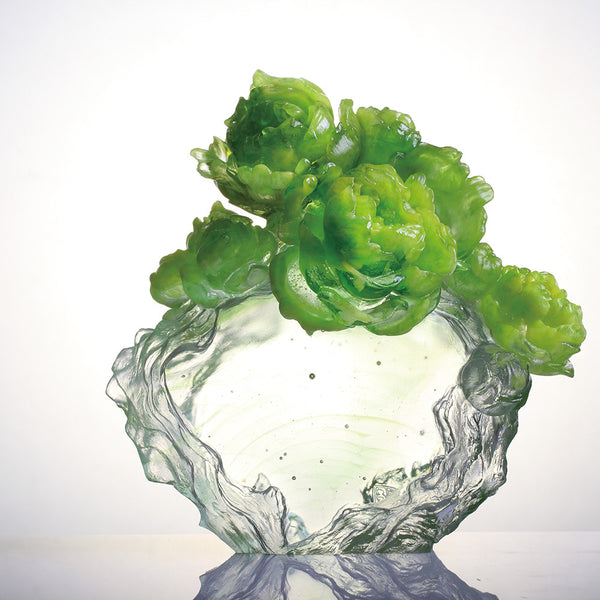 Peony Flower Figurine (Persistence) - Floral Occupation - LIULI Crystal Art | Collectible Glass Art