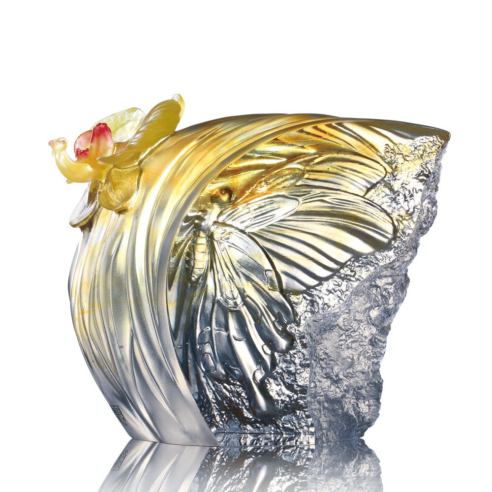 -- DELETE -- Crystal Butterfly, Butterfly and Flower Figurine, Butterfly Dance, Spring Flower - LIULI Crystal Art