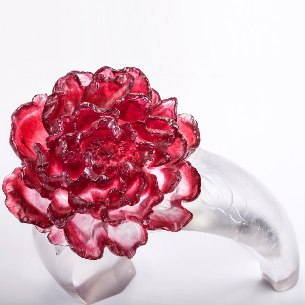 Crystal Flower, Peony, Opulent Fragrance - LIULI Crystal Art