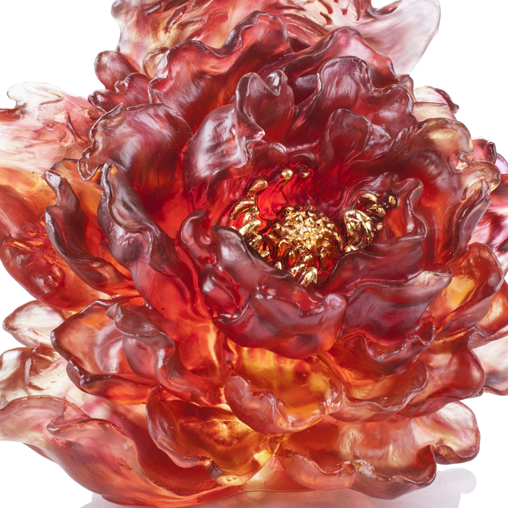 Crystal Flower, Peony, Meditative Flower in Red (24K Gilded, U.S. Exclusive Design) - LIULI Crystal Art