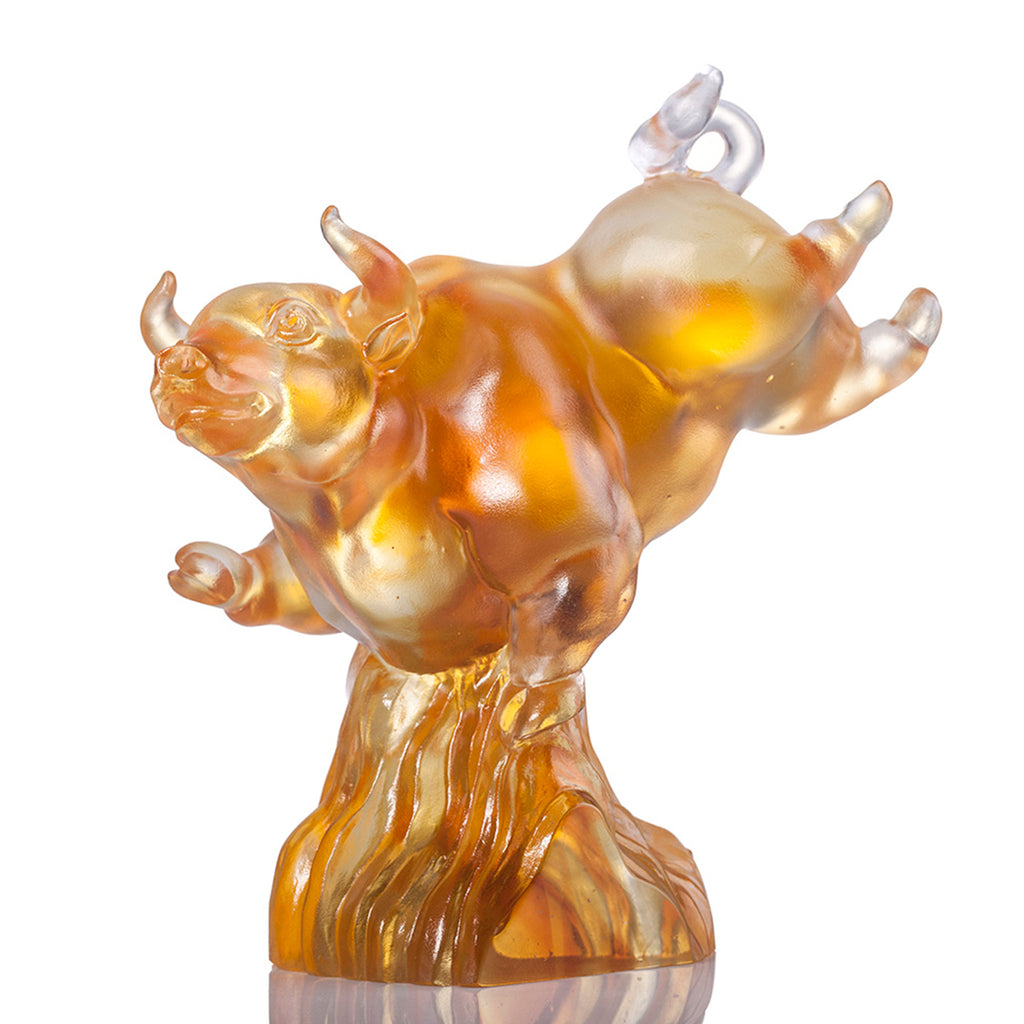 LIULI Year of the Ox 2021 Crystal Statue Peak