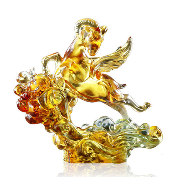 Sheep Figurine (Success) - Frolicking Through the Heavens - LIULI Crystal Art | Collectible Glass Art