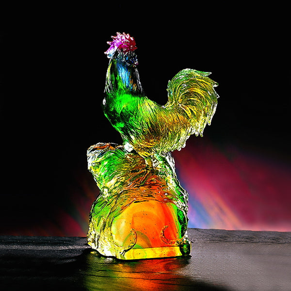 "Rooster Figurine (Promote Luck and Fortune) - ""Climb to Great Heights"" - LIULI Crystal Art 