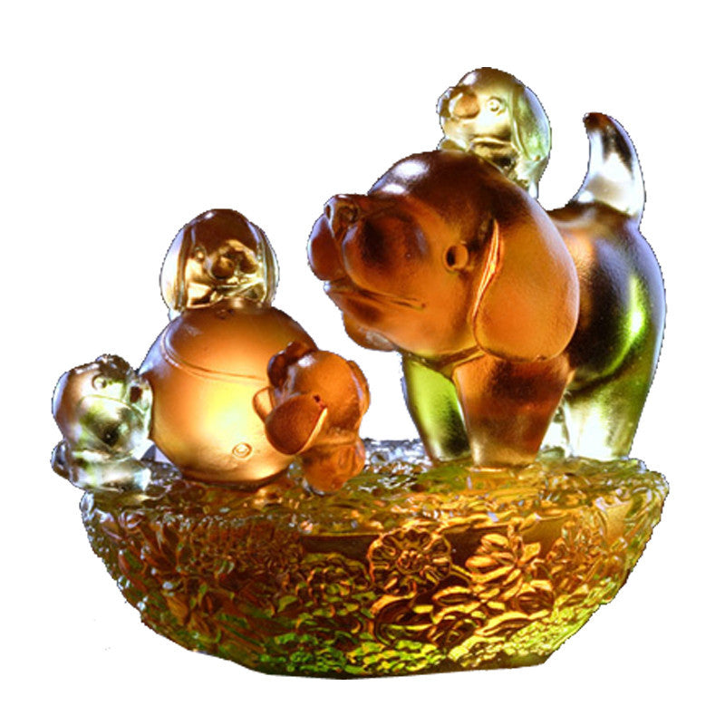 Five Lucky Pups - Dog Figurines (We are Family) - LIULI Crystal Art | Collectible Glass Art