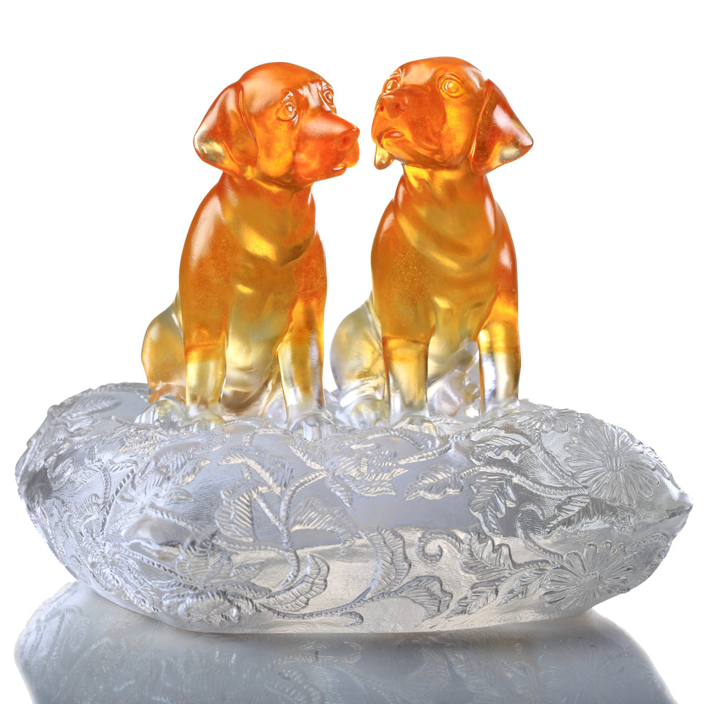 Crystal Animal, Dog, New Century of Luck - LIULI Crystal Art