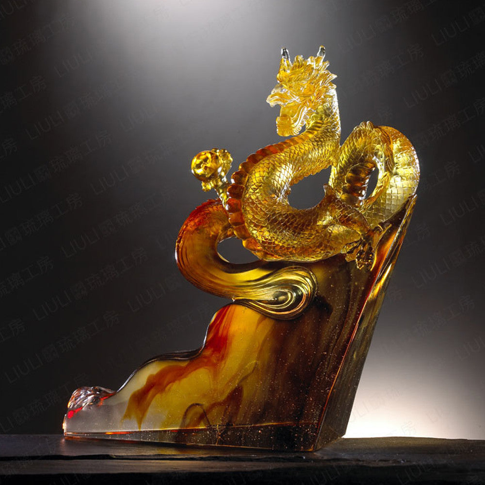 "Dragon of Great Ambition - ""Climbing Toward the Skies"" - LIULI Crystal Art - Amber / Gold Red Clear."