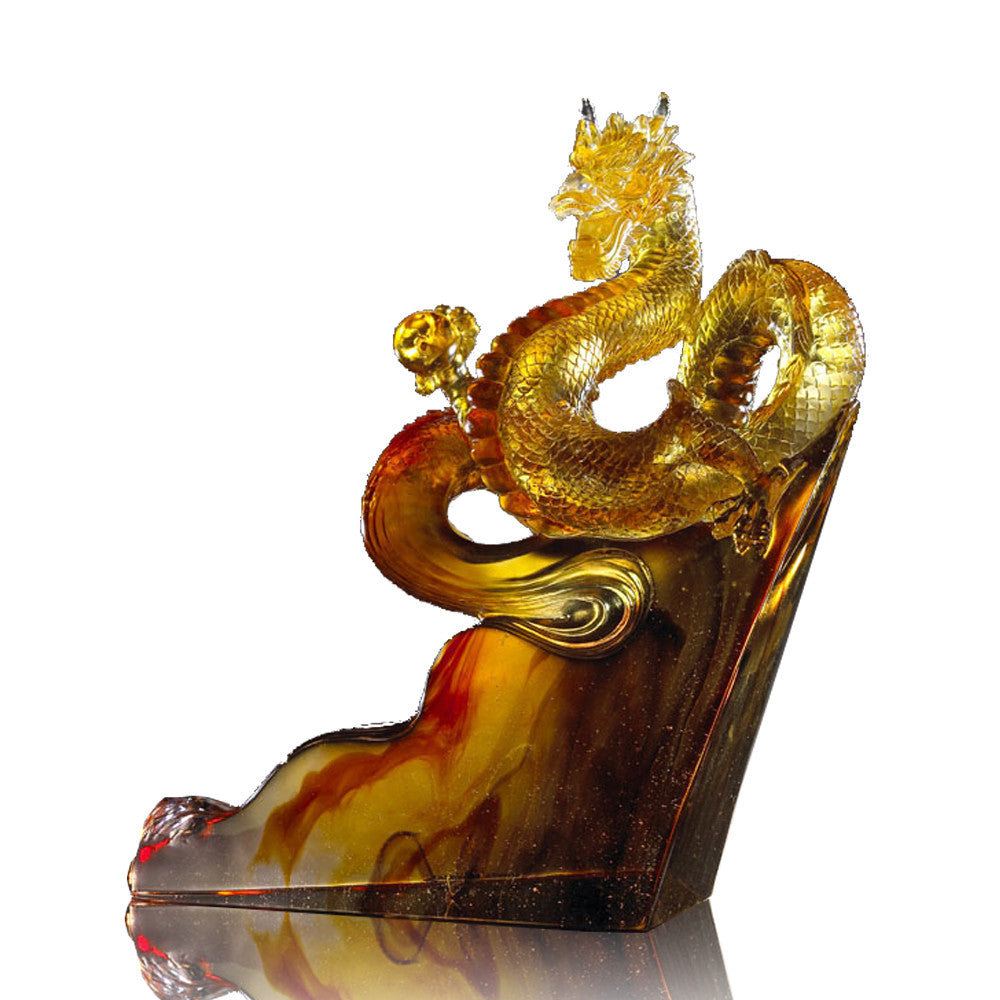 "Dragon of Great Ambition - ""Climbing Toward the Skies"" - LIULI Crystal Art"