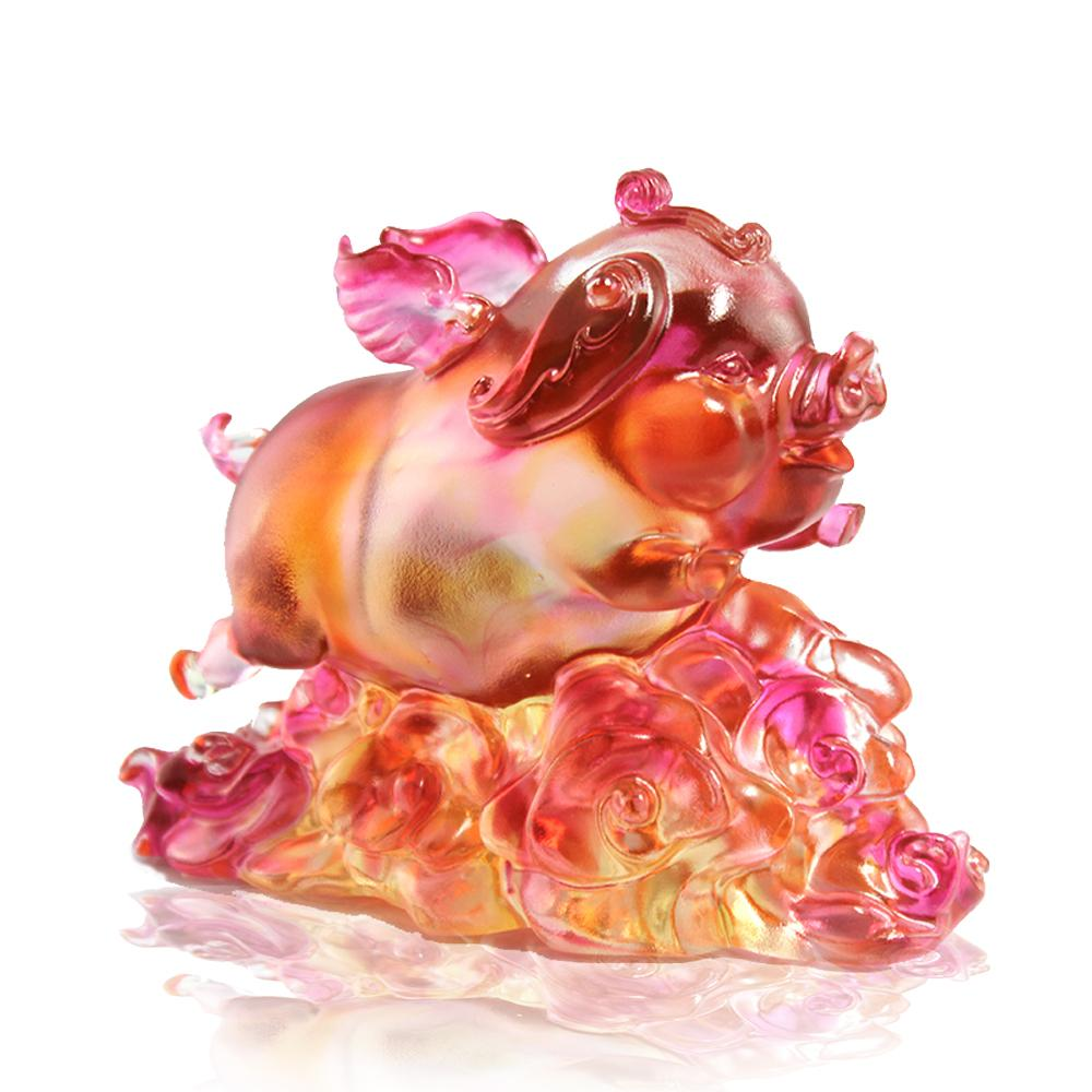 Crystal Animal, Pig, Wishing You Luck and Happiness - LIULI Crystal Art - Amber / Gold Red Clear.