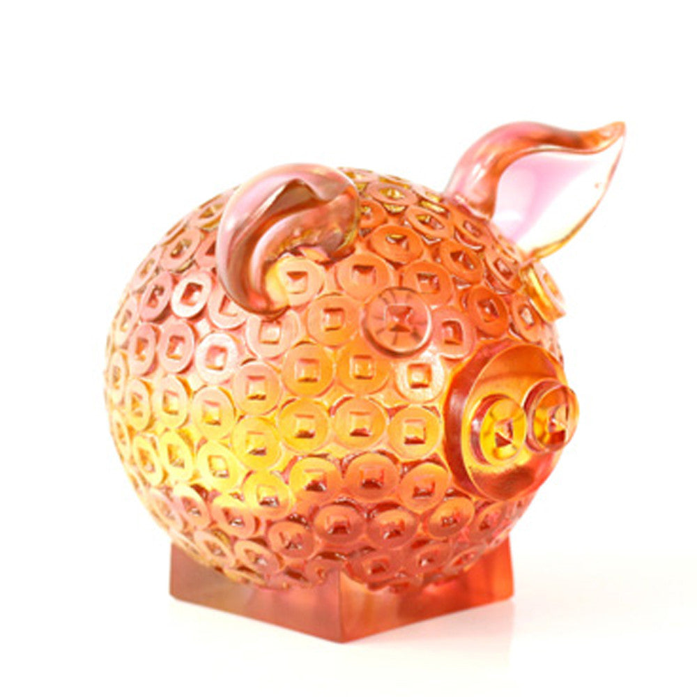 Crystal Animal, Pig, Generosity Brings Fortune - LIULI Crystal Art