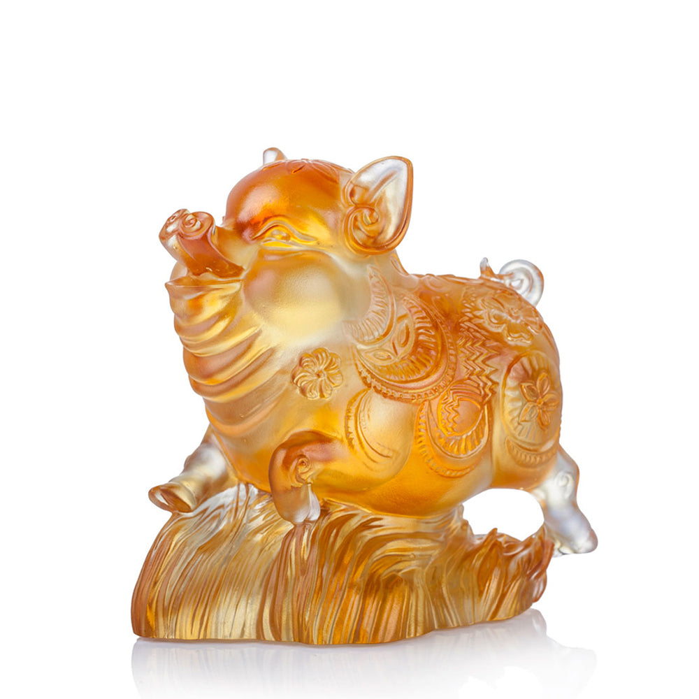Crystal Animal, Pig, Pig of Plenty - LIULI Crystal Art