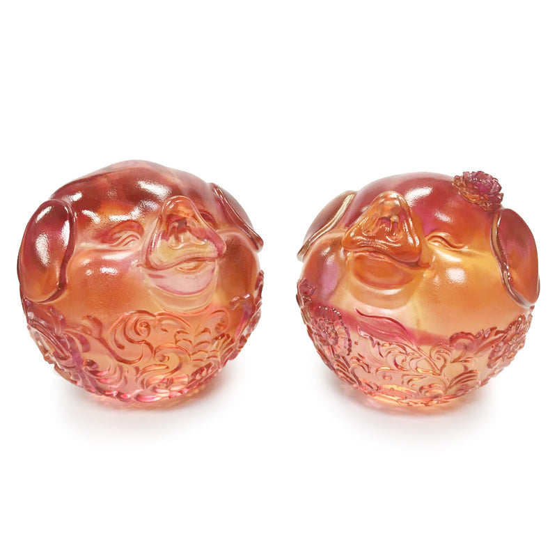 Crystal Animals, Pig, Nothing Will Tear Us Apart (Set of 2) - LIULI Crystal Art