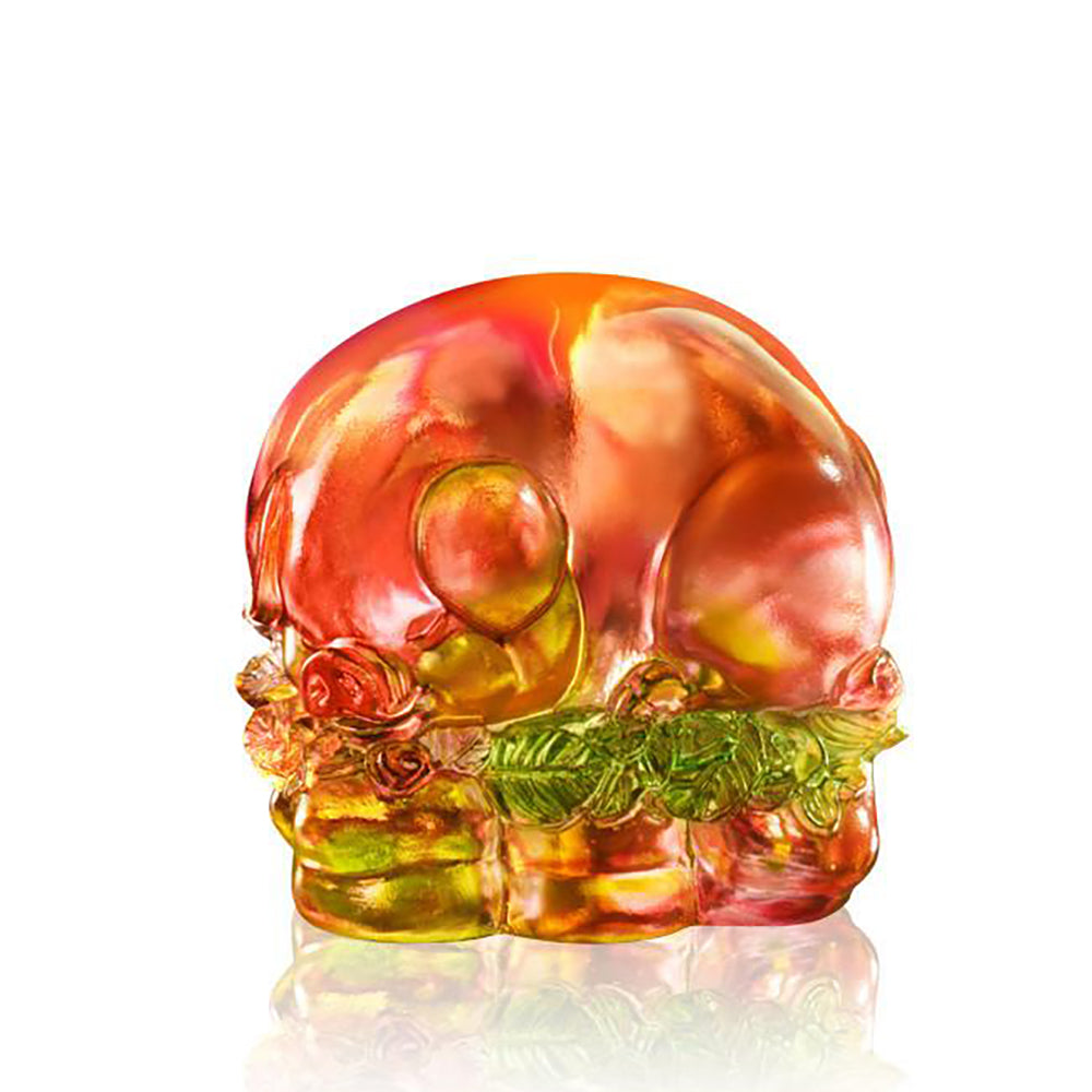 Luck in All Corners (Promote Luck & Wealth) - Pig Figurine, Paperweight - LIULI Crystal Art - Amber / Gold Red.