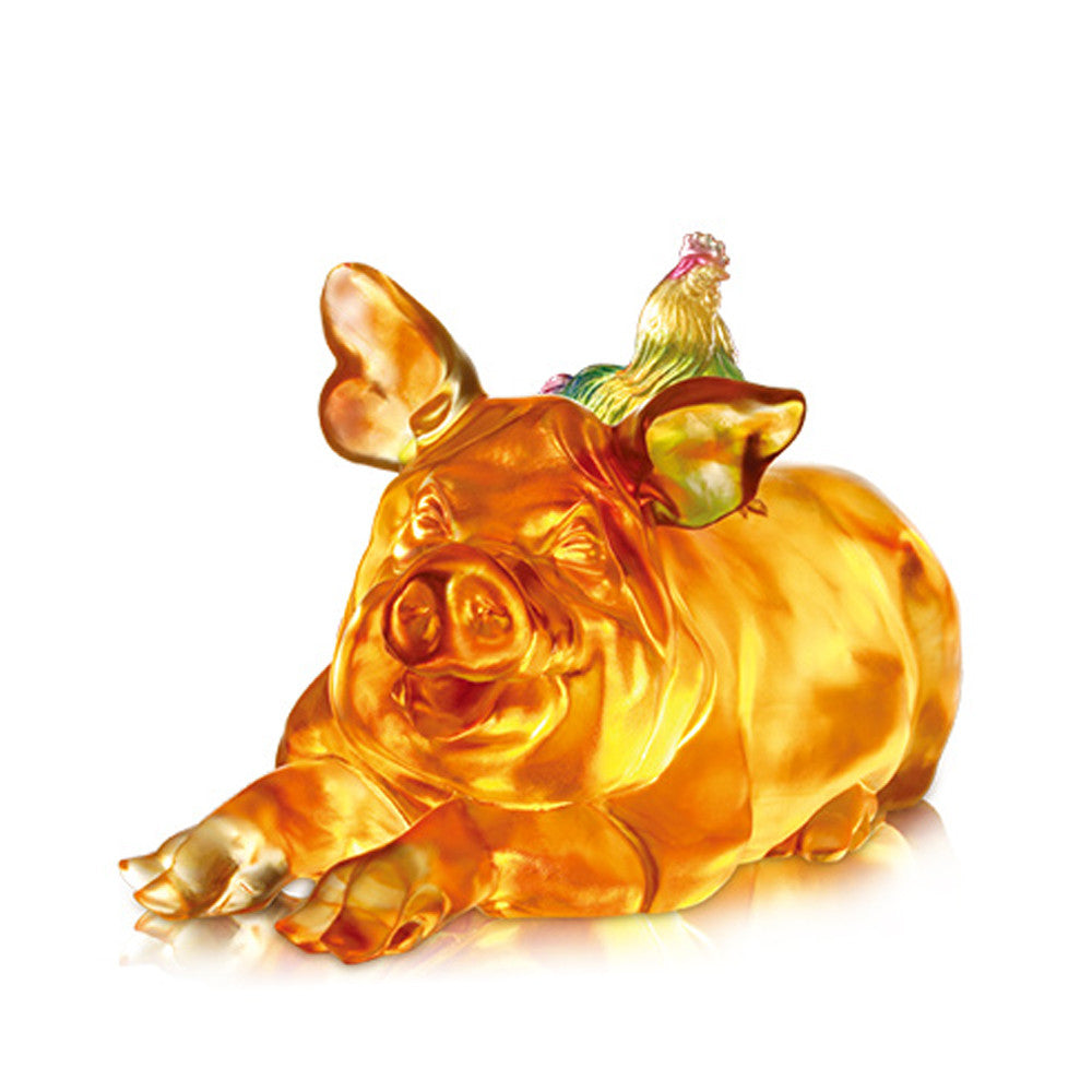 Grand Affairs, Grand Fortunes (Favorable) - Pig & Rooster Sculpture - LIULI Crystal Art - Dark Amber / Light Amber.