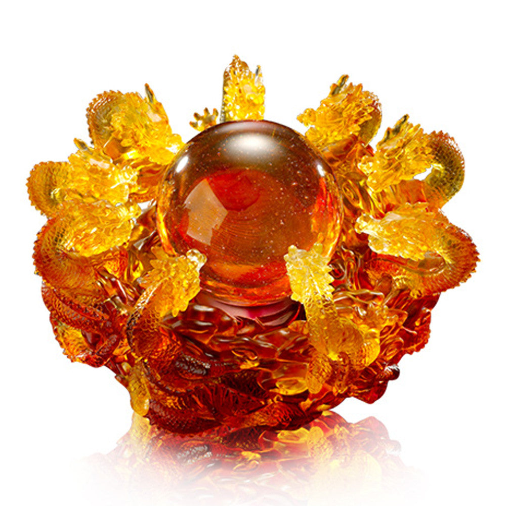 Crystal Mythical Creature, Dragon, The Yin Yang Cycle of Nine Dragons - LIULI Crystal Art - Amber.