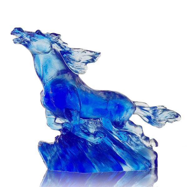 "Horse Figurine (Zodiac, Pride Leadership) - ""The Frontrunner"" - LIULI Crystal Art 