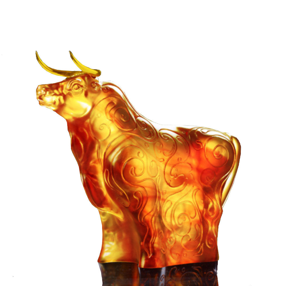 Ox, Bull Figurine (Prosperity) - Golden Harvest (24K Gilded Horned) - LIULI Crystal Art