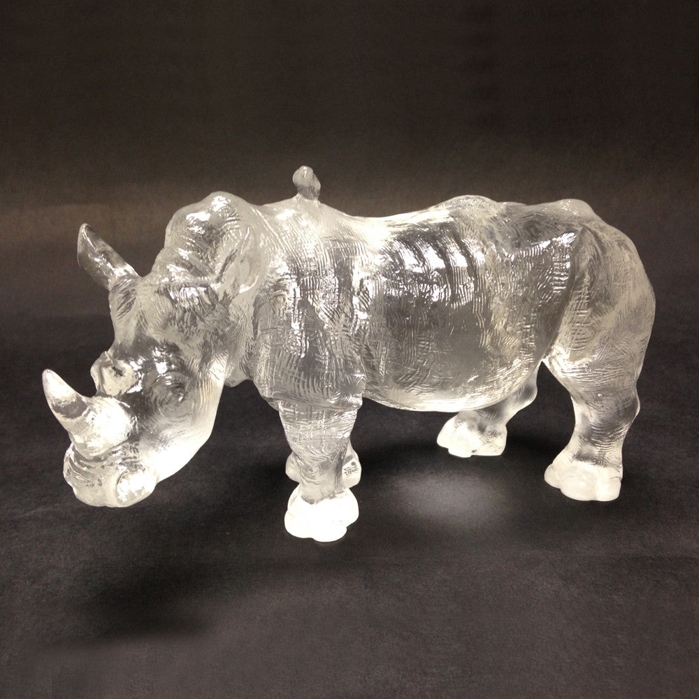 "Rhino or Rhinoceros Figurine - ""Don't Scold Me"" (Mother Rhino, Large) - LIULI Crystal Art"