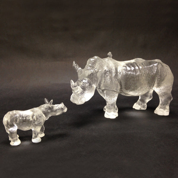 "Rhino or Rhinoceros Figurine (Love of a Mother) - ""Don't Scold me"" (Set of 2pcs) - LIULI Crystal Art 