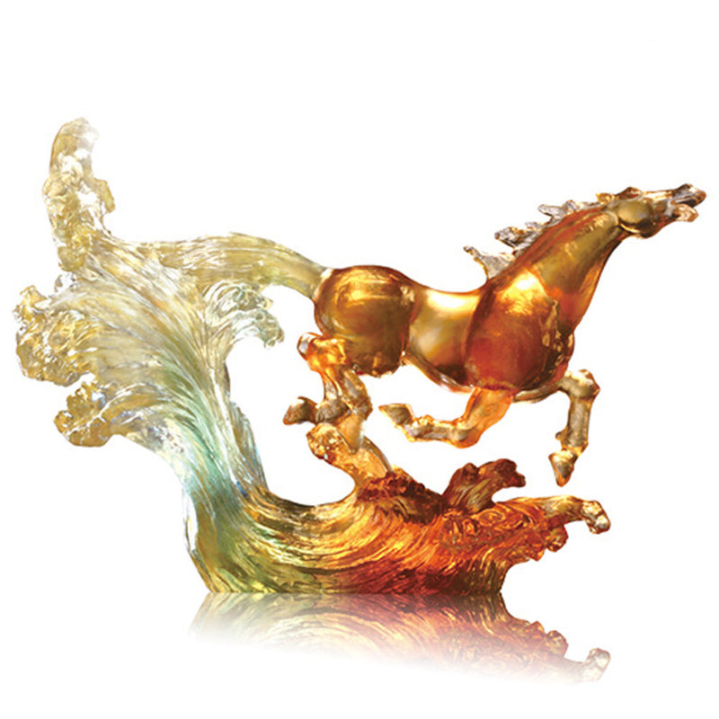 Ascent to New World (Confident), Crystal Horse Figurine - LIULI Crystal Art