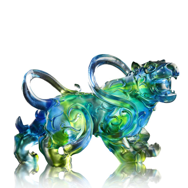 Tiger Figurine (Ambition) - Heavenly Roar of the Exquisite Tiger - LIULI Crystal Art | Collectible Glass Art