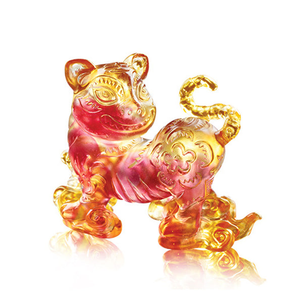 "Tiger Figurine (Fortune) - ""Coming with Steps to Fortune"" - LIULI Crystal Art 