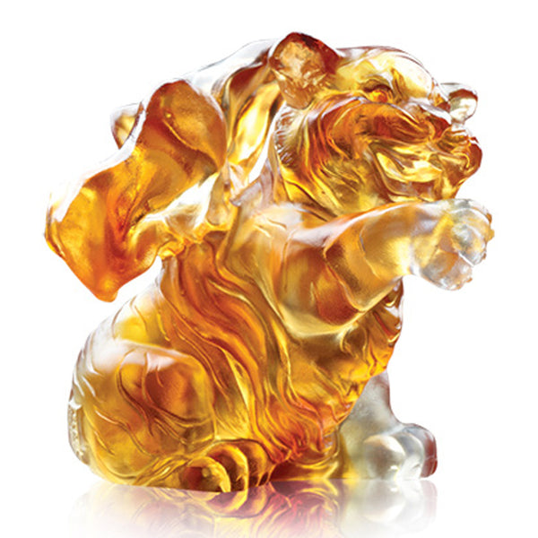 "Tiger Figurine (Zodiac, Beautiful) - ""Lovely Tiger"" - LIULI Crystal Art 