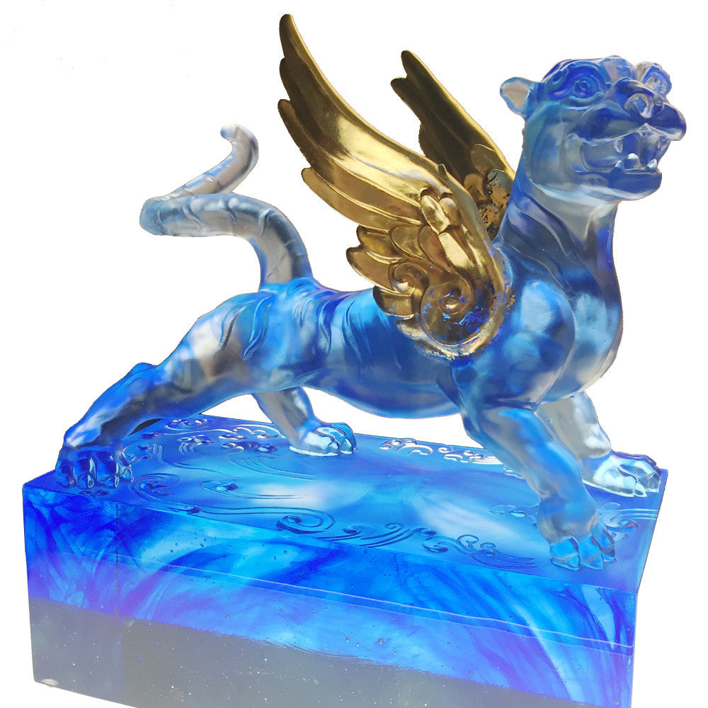 Tiger Figurine (Success) - Heavenly Wings of the Tiger - LIULI Crystal Art