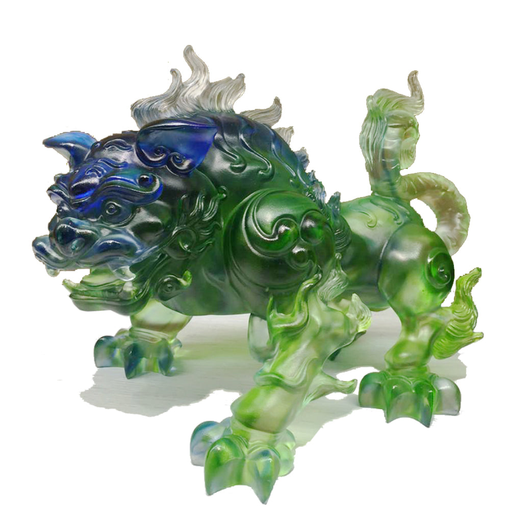 Foo Dog (Mythical Creature, Guardian) - Power All Around - LIULI Crystal Art - Bluish / Green Clear.