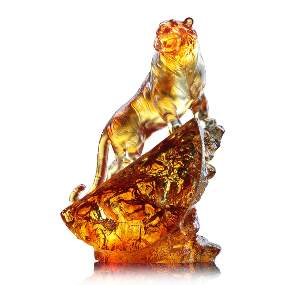 Crystal Animal, Tiger, Peak of Satisfaction - LIULI Crystal Art