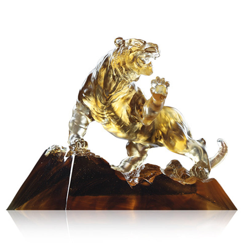 Eight Thousand Miles (Leading the Way) - Tiger Figurine - LIULI Crystal Art - Dark Brown Clear.