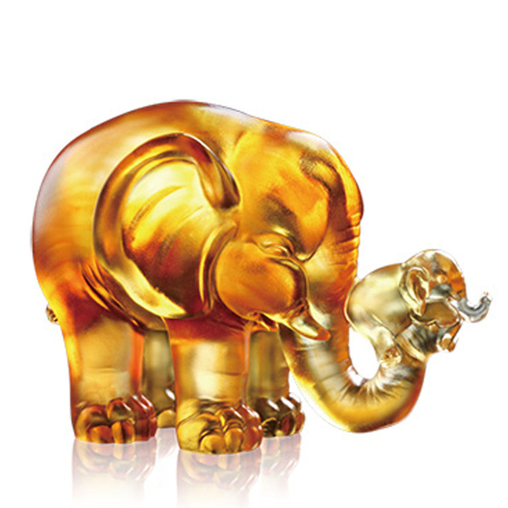 A Push Forward the Fortune - Elephant Figurine (Lover's Push) - LIULI Crystal Art - Dark Amber / Light Amber.